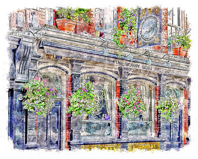 Digital Art - The Bonny Boat An Historic English Pub by Anthony Murphy