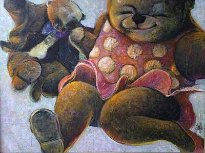 Art Print featuring the painting The Boogie Woogy Bears by Eleatta Diver