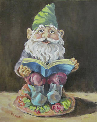Painting - The Book Gnome by Cheryl Pass