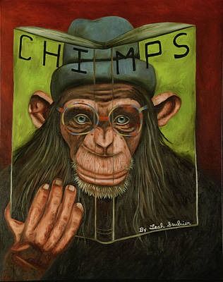 Research Painting - The Book Of Chimps by Leah Saulnier The Painting Maniac