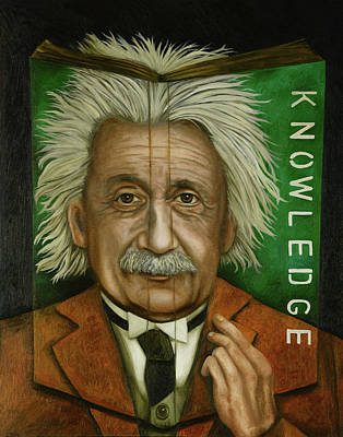 Einstein Painting - The Book Of Knowledge  by Leah Saulnier The Painting Maniac