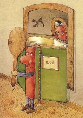 Painting - The Book Reading Himself by Kestutis Kasparavicius