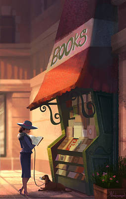 New York Digital Art - The Bookstore by Kristina Vardazaryan