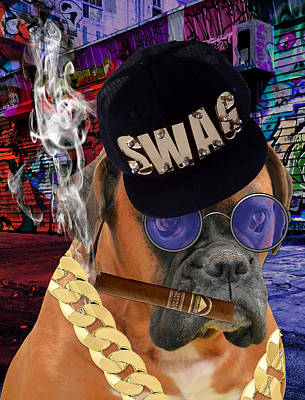 Boxer Mixed Media - The Boss Boxer by Marvin Blaine