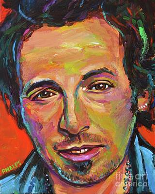 Painting - Bruce Springsteen, The Boss by Robert Phelps