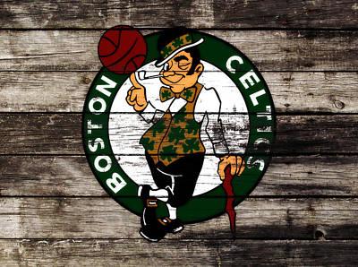 Larry Bird Mixed Media - The Boston Celtics W10 by Brian Reaves
