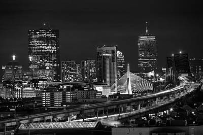 Photograph - The Boston Skyline Boston Ma Black And White by Toby McGuire