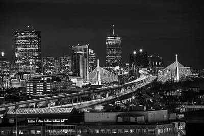 Photograph - The Boston Skyline Boston Ma Full Zakim Black And White by Toby McGuire