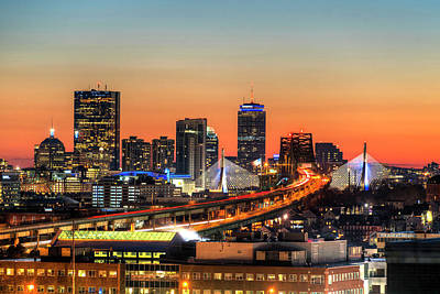 Photograph - The Boston Skyline Lit Up Blue On Hanukkah At Sunset by Toby McGuire