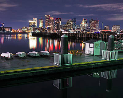 Photograph - The Boston Skyline Lit Up For Christmas Boats by Toby McGuire