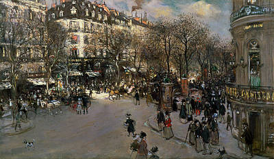 The Boulevards Painting - The Boulevard Des Italiens by Jean Francois Raffaelli