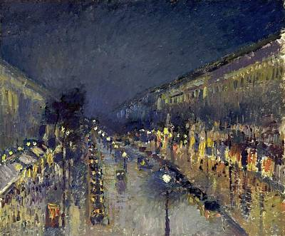 Night Lamp Painting - The Boulevard Montmartre by MotionAge Designs