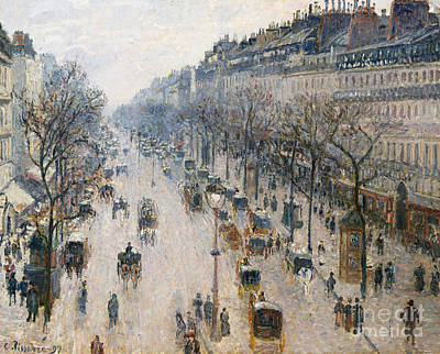Crowds Painting - The Boulevard Montmartre On A Winter Morning, 1897  by Camille Pissarro