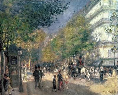 Chatting Painting - The Boulevards  by Pierre Auguste Renoir
