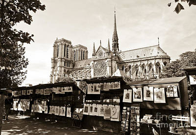The Bouquinistes And Notre-dame Cathedral Art Print by Perry Van Munster