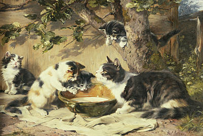 Paws Painting - The Bowl Of Milk by Julius Adam