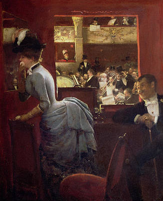 Black Tie Painting - The Box By The Stalls by Jean Beraud
