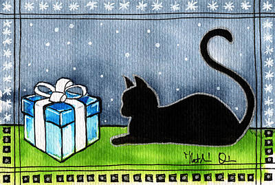 Painting - The Box Is Mine - Christmas Cat by Dora Hathazi Mendes