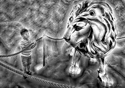 Le Cat Photograph - The Boy And The Lion 18 by Jean Francois Gil