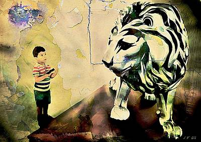 Le Cat Photograph - The Boy And The Lion Graffiti Creator,street-art Graffiti,street-art,graffiti Art Street,banksy Art, by Jean Francois Gil