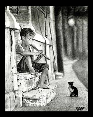 The Boy The Cat And A Flute Art Print by Rohan Abhijith Ramanuja