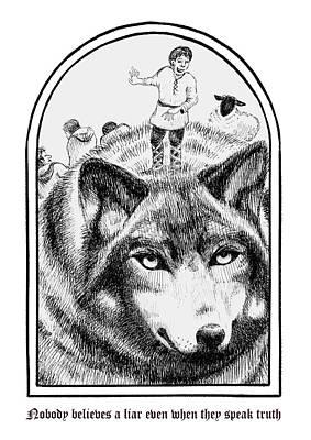The Boy Who Cried Wolf Art Print by Kerina Strevens