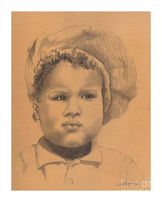 Drawing - The Boy Who Hated Cheerios -- Portrait Of African-american Child by Jayne Somogy