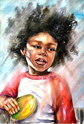 Painting - The Boy With A Mango by Katerina Kovatcheva