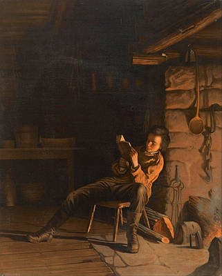 Eastman Johnson Painting - The Boyhood Of Lincoln. An Evening In The Log Hut by Eastman Johnson