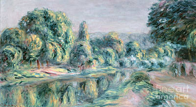 The Riverside Road Painting - The Branch At Croissy by Pierre Auguste Renoir