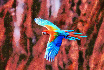 Pheasant Digital Art - The Brazilian Arara - Da by Leonardo Digenio