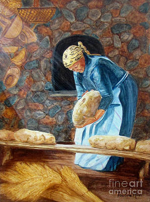 Hanging Baskets Painting - The Breadbaker by Pauline Ross