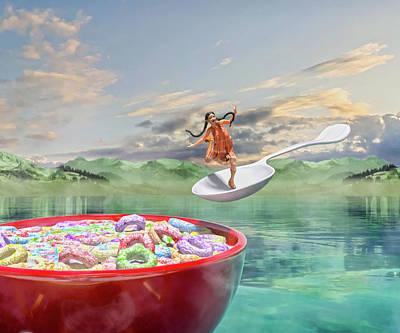 Surrealism Digital Art - The Breakfast Taxi Dream by Betsy Knapp