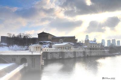 Waterworks Digital Art - The Breaking Sun Over Philadelphia by Bill Cannon