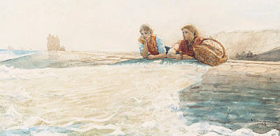 Sisters Drawing - The Breakwater by Winslow Homer