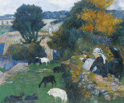 Painting - The Breton Shepherdess by Paul Gauguin