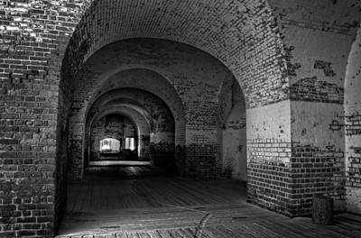 Beach Photograph - The Bricks Of Fort Pulaski In Black And White by Greg and Chrystal Mimbs