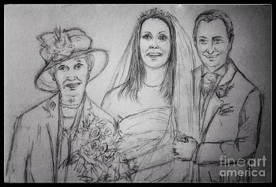 Drawing - The Bridal Party by Joan-Violet Stretch