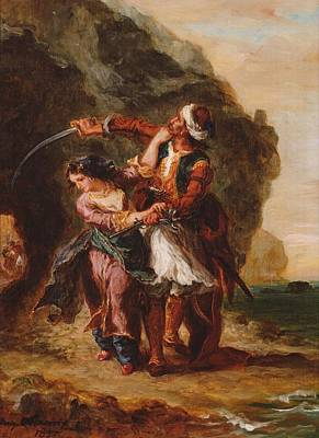 Male Painting - The Bride Of Abydos Or Selim And Zuleika. Painting, 1857, By Eugene Delacroix by Eugene Delacroix