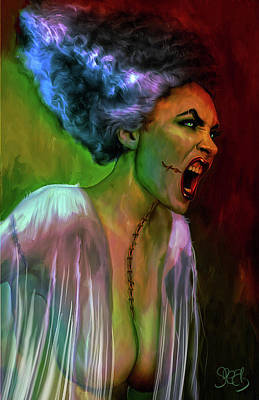 Comics Mixed Media - The Bride of Frankenstein by Mark Spears