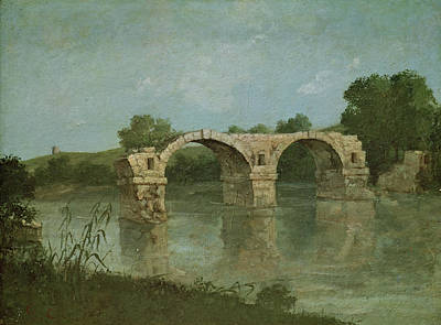 Dilapidated Painting - The Bridge At Ambrussum by Gustave Courbet