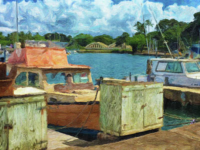 Haleiwa Mixed Media - The Bridge At Haleiwa Harbor by Patrick J Gallagher