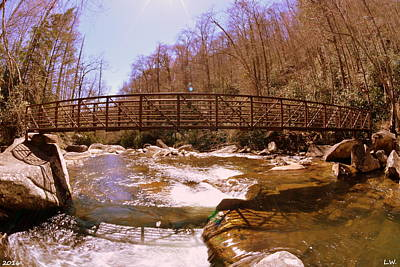 Brown Photograph - The Bridge At Lower Whitewater Falls 2 by Lisa Wooten