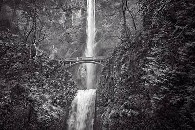 Photograph - The Bridge At Multnomah Falls In Black And White by Lynn Bauer