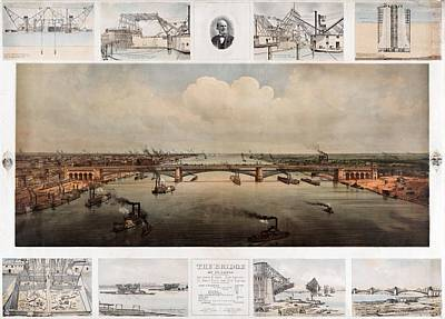 The Bridge At St. Louis, Missouri, Ca. 1874 Art Print