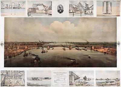 The Bridge At St. Louis, Missouri, Ca. 1874 Art Print