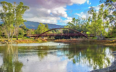 The Bridge At Vasona Lake Digital Art Art Print