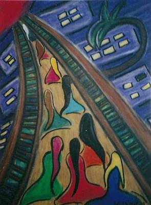 Folk Art Painting - The Bridge Home by Shelby  Leigh