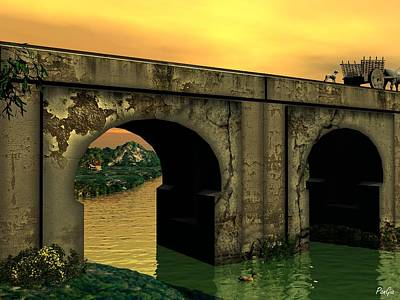 Digital Art - The Bridge by John Pangia