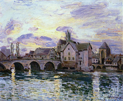 Sunset At The Bridge Painting - The Bridge Of Moret At Sunset by MotionAge Designs